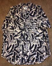 Le Frog Mens Black White Button Front Short Sleeve Shirt Sz L? DESCRIPTION