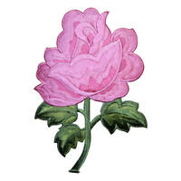 """Pink Rose Applique Patch - Large Bloom, Flower Badge 5.25"""" (Iron on)"""