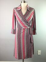 Laundry Womens Wrap Dress Polka Dot Collared 3/4 Sleeve Pink Stretch Size S