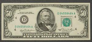 1981 $50 FRN FEDERAL RESERVE NOTE * CLEVELAND D04558464A Lot#CA102