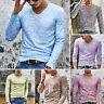 Fashion Men Casual Slim Fit Long Sleeves V Neck T-shirts Shirt Tops Pullover New
