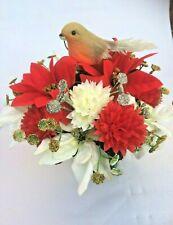 Grave Pot Silk Flower Arrangement Artificial Christmas Robin Memorial Grave r1