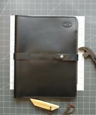Black Glossy Leather Portfolio, handmade in my studio with premium leather. (REA