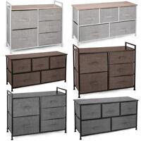 5-Drawer Storage Dresser Sliding Cloth Fabric Bins Chest Bamboo Shelf Drawers