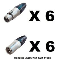 Lot of 12 (6 each) New GENUINE NEUTRIK NC3FXX & NC3MXX XLR Connectors Ships FREE