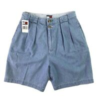 Tommy Hilfiger Womens Vintage Pleated Jean Shorts Size 16 Waist 28 Inseam 6.5 in