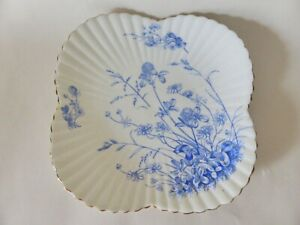 """Antique Wileman Plate, 9"""" Blue and White Floral Plate, Rare, Display Plate"""
