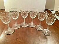 "6 Vintage Etched Leaf Stemmed 4 oz Cordial Liqueur Glasses 6"" tall"