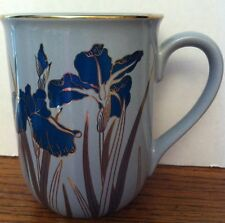 Stunning! Navy Blue 24 kt Gold Trim Royal IRIS MUG Grey Ceramic Otagiri Japan