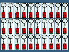 30 Lot Key Chain w/ Lego 3020 2x4 Red brick Plate Gift, Party Favor, Game Prize