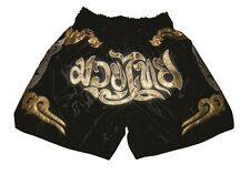 MUAY THAI SHORT, CLASSIQUE BOX- BASKET-BALL PANTALON, NOIR-OR, SATIN, TAILLE L
