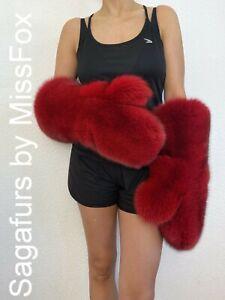 Saga Blue fox full fur huge mittens.Long. Red ferrari