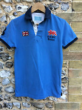 VTG HACKETT POLO SHIRT SIZE XS SHORT SLEEVE TOP TEE RUGBY XSMALL BLUE