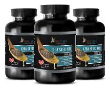 Chia Seeds Oil 1000mg Omega 3-6-9 High Potency Gluten-Free 3 Bottle 180 Pils