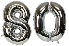 16 inch 80 Silver Number Balloons 80th Birthday Party Anniversary Foil Balloon