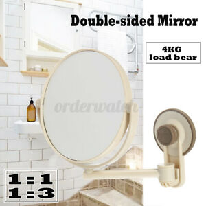 Suction Cup Wall-Mounted Adjustable Makeup Shaving Round Bathroom Mirror