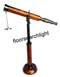 NAUTICAL 12 INCH VINTAGE STYLE TELESCOPE WITH WOODEN STAND BRASS HANDMADE DECOR