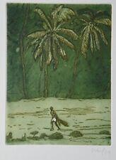 Peter Doig, Farbradierung 2004, signiert, Black Palms/Pelican
