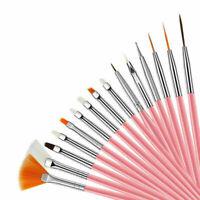 15 pcs Artist Paint Brushes Set Acrylic Oil Watercolour Painting Craft Art Pink
