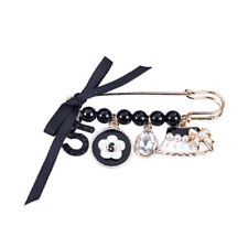 Black Bow Camellia Flower White Gold Hat Charm Number Five Pin Brooch