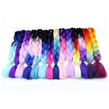 24'' Ombre Black Jumbo Kanekalon Braiding Hair Crochet Style Braid Extensions