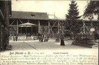 Bad Münster am Stein 1905 Partie mit Personen Gebäude a.d. Brunnen Promenade