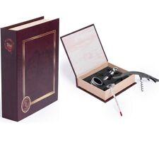 Set de Vino Libro, estuche interior de espuma, 4 accesorios de acero inoxidable