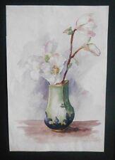 Aquarelle Originale - 1900 - Eglantines - Fleurs Blanches - Monogramme E.B