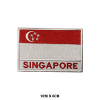 Singapore National Flag Embroidered Patch Iron on Sew On Badge For Clothes etc