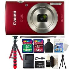 Canon IXUS 185 / ELPH 180 20MP Digital Camera Red and Top Accessory Bundle