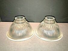 Dome Light Shade 2pc Set Clear Glass Ribbed Holophane Industrial Style Retro