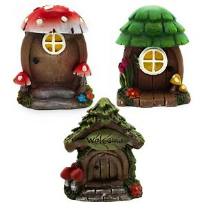 Fairy Garden DOORS, Enchanted Forest YOU PICK Red Green Mushrooms Tree Figurines