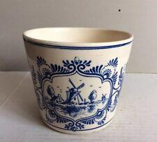 Vintage Blue & White Handpainted Delft Blauw Windmill Flowers Planter Vase