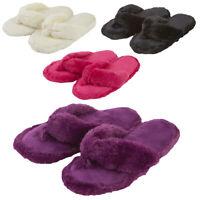 Ladies Womens Indoor Slippers Flip Flop Memory Foam Faux Fur FOREVER DREAMING