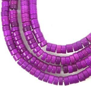 """4x2mm Turquoise Heishi Rondelle Beads 16""""  -  Orchid Purple"""