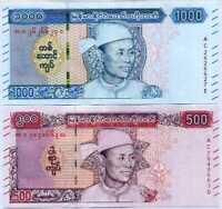 Myanmar Set 2 Pcs 500 1000 Kyats 2020 P NEW DESIGN UNC