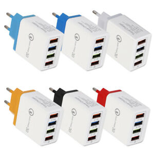 4 Multi-Port Quick Charge 3.0 Fast Wall Charger USB Hub Power Adapter US EU Plug