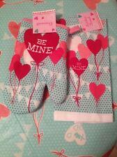 White Pink Red Heart Balloons Oven Mitt & Matching Hand Kitchen Dish Towel Set