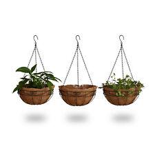 Blumenampel 3 Körbe Kokos verziert Pflanzenhalter mit Kette als Hängeampel 35 cm
