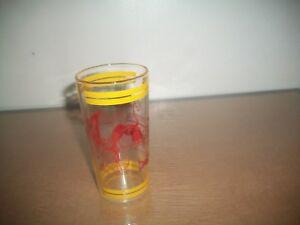 "Vtg VICTORIAN SCENE Clear Drinking GLASS/TUMBLER  5"" w/YELLOW STRIPE~RED PYRO"