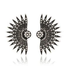 1Pair New Trend Vintage Silver Pave Crystal Floral Fan Sparkly Statement Earring