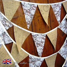 2.4 M Hessian Bunting Flags Banner Rustic Lace Wedding Birthday Party Decor AU
