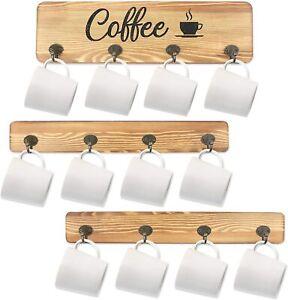Under Shelf Coffee Cup Mug Holder Hanger Storage Rack Cabinet 12 Hooks Kitchen