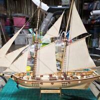 New 1:100 Scale Mini Wooden Sailboat Ship Kit Boat Gift Decoration Model I6H0