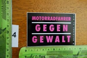 Alter Aufkleber Motorrad Motorsport MOTORRADFAHRER GEGEN GEWALT