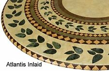 "Table Cloth Round 36"" to 48"" Elastic Edge Fitted Vinyl Inlaid Brown Tan Green"