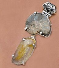 "Ammonite Fossil and Rutilated Quartz Sterling Silver 2"" Pendant"