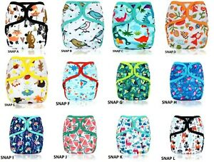 1 x Happy Flute Double Gussets  Baby One Size Cloth Nappy Cover Wrap Waterproof