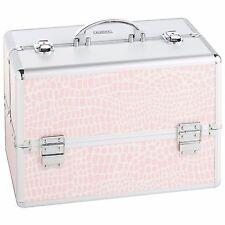 "Beautify Large Pink 14"" Train Case Cosmetic Organizer Makeup Storage Box"