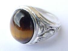 TIGRE-Cabochon Bague Argent Vintage 70er silver ring